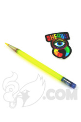 Sherbet Glass - Glass Pencil Dabber Transparent Yellow Shade Citrus with Purple Eraser