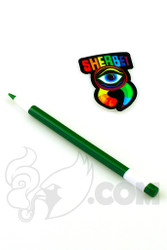 Sherbet Glass - Glass Pencil Dabber Green and White
