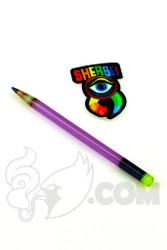 Sherbet Glass - Glass Pencil Dabber Purple Lollipop with Yellow Eraser