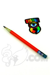 Sherbet Glass - Glass Pencil Dabber Red with Blue Eraser