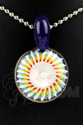 Steve H. Glass - Implosion Rainbow Pendant with Blue Bail