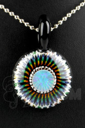 Steve H. Glass - Implosion Rainbow Pendant with Large Opal