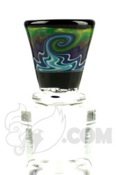 Mike Fro Glass - 14mm 3 Hole Blue and Green Slide