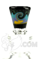 Mike Fro Glass - 14mm 3 Hole Yellow and Purple Slide