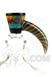 Mike Fro Glass - 14mm 3 Hole Horned Teal and Rainbow Slide