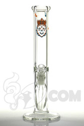 "Manifest Glassworks - 7mm 15"" Single Stage Straight with UV Splatter Blue and Orange Lion"