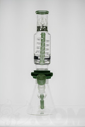 Subliminal Glass - Coil Beaker with Green Accent