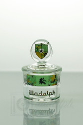 Front view of the Camo Signature Label mini storage jar from Illadelph Glass.