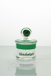 Green Illadelph Glass stash jar (mini size) with wigwags.