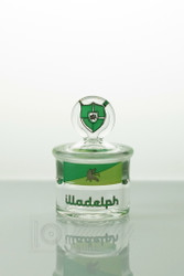 Green Signature Illadelph glass stash jar (mini size), front view.