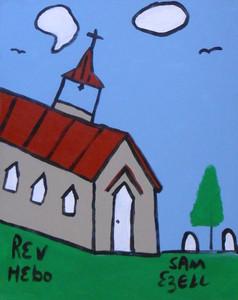 CHURCH ACRYLIC PAINTING by Sam Ezell