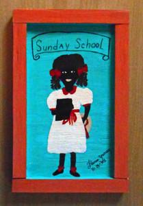 Sunday School Girl Painting by Florida Minister Folk Artist Floria Yancey