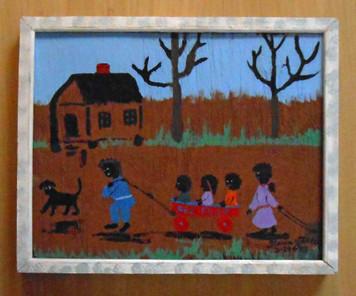 Red Flyer Wagon by Florida Minister Folk Artist Floria Yancey