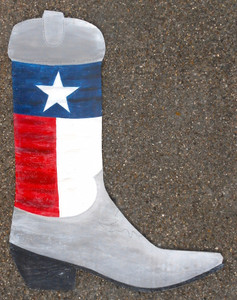 Wooden TEXAS FLAG COWBOY BOOT by George Borum