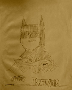 BATMAN & BATCAR on  a Manila Envelope by Smitty