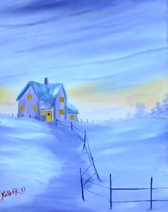 SNOW SCENE 0n Canvas by Kolber - '97