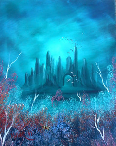 UNDERWATER CITY - Acrylic on Stretched Canvas