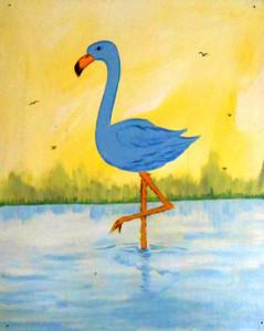 BLUE (Pink) FLAMINGO by George Borum
