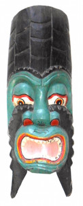GREEN & BLACK CARVED WOODEN MASK