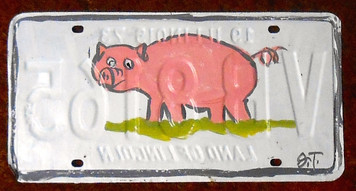 PINK PIG License Plate by JT
