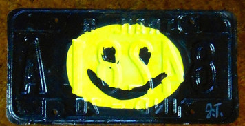 SMILEY FACE License Plate by John Taylor