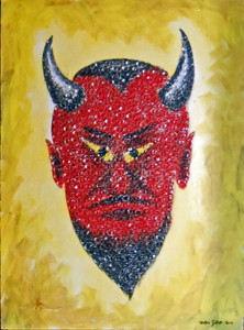 DEVIL PORTRAIT covered with Pull Tabs by George E Borum