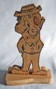 KNOT EYE STANDING MAN wood cut-out by Geo G Borum