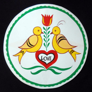 TWO LOVE BIRDS PA DUTCH STYLE HEX SIGN by Geo G Borum