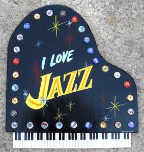 I LOVE JAZZ - LARGE PIANO PLAQUE by George Borum