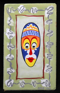 Colorful Painted Mask on wood panel by George Borum