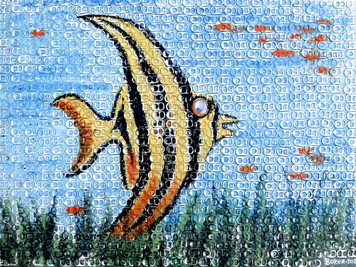 ANGEL FISH PAINTING - Trimmed with Pull Tabs -by George Borum