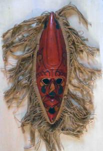 Red Carved Wooden Mask  trimmed w/ Burlap
