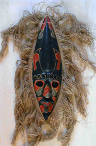 Black Carved Wooden Mask  trimmed w/ Burlap