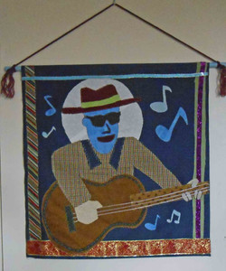 Appliqued Bluesman Hanging Tapestry by Tillie