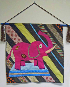 Appliqued Elephant Hanging Tapestry by Miss Tillie