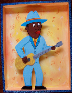 Blues Guitar Man Shadow Box by George Borum