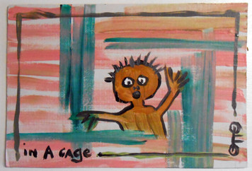 IN A CAGE on cardboard by Otto Schneider