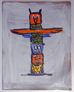 TOTEM POLE on Cardboard by Otto Schneider