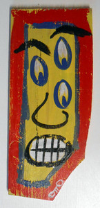 FACE with 3 EYES on Scrap Wood by Otto Schneider