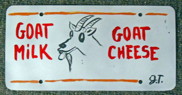 GOAT MILK - CHEESE LICENSE PLATE by John Taylor