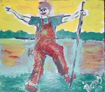 "JOHNNY APPLESEED PAINTING by ""Heavy"" - WAS $50 - NOW $30"