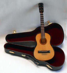 "MINIATURE  ACOUSTIC GUITAR & Case - 10"" Long"