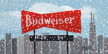 Chicago BUDWEISER Sign in Snowstorm by Otto Schneider