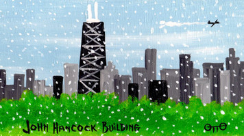 Chicago John Hancock Building in Snowstorm by Otto - Was $35 - Now$20