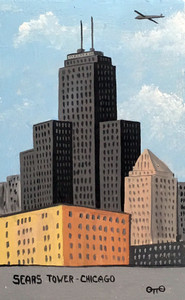 SEARS TOWER PAINTING by Otto Schneider - Was $60 - Now $40