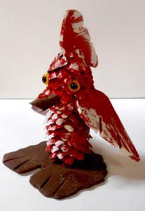PINE CONE MUNCHKIN RED BIRD #1 by Rose Krinke