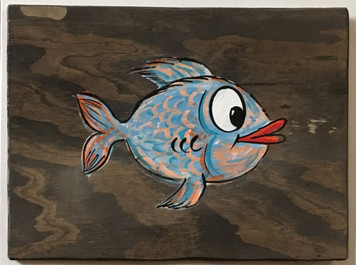 COLORFUL BLUE FISH PAINTING by George Borum