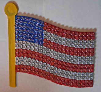 Bottle Cap American Flag Construction by George Borum