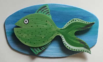 GREEN FISH #5 Mounted on Backboard by Steve Knight - WAS $40 - NOW $20