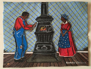 COUPLE BY HEATING STOVE - by Roebuck - WAS $75.-NOW $60.